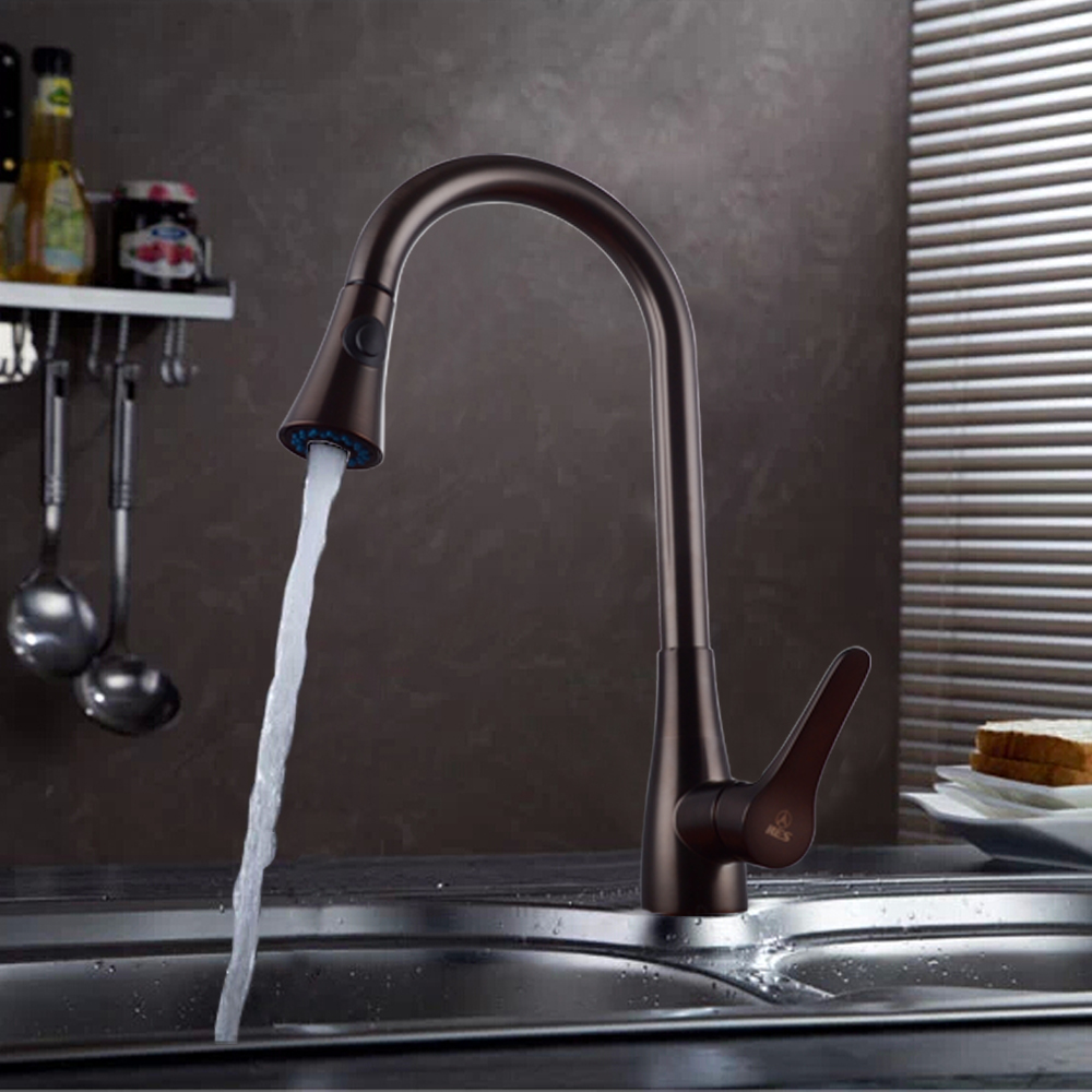 Kes Brass Pull Down Kitchen Faucet Modern Single Large Tall Commercial Pullout Bar Sink With