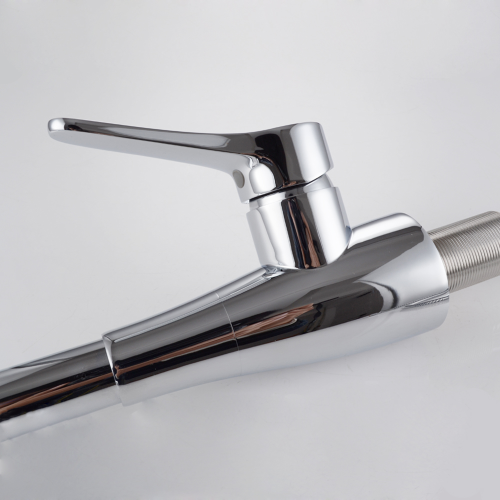 KES L6910 Solid Brass Singel Lever High Arc Pull Down Kitchen Faucet With  Retractable Pull Out Wand, ...