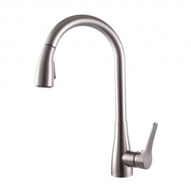 KES Brass Singel Handle Pull Down Kitchen Faucet with Retractable Pull Out Wand High Arc Swivel Spout, L6910BLF-2