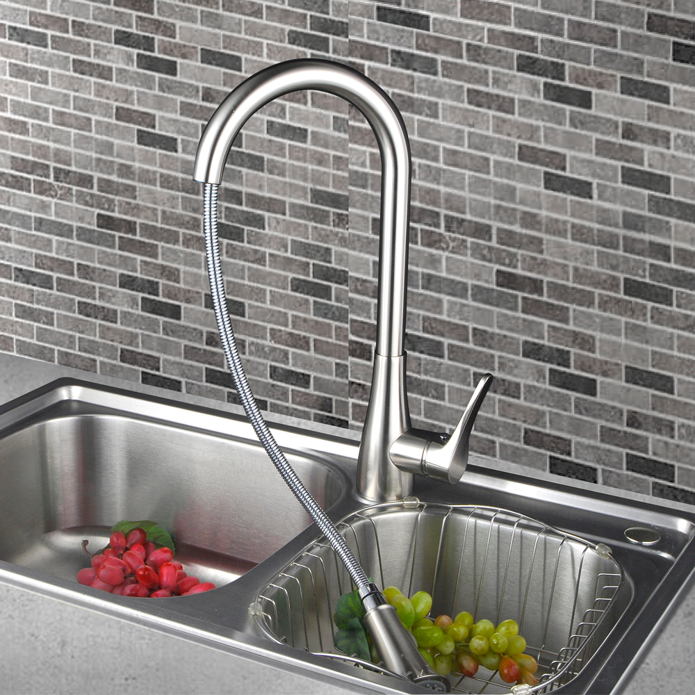Brass Pull Down Kitchen Faucet Modern Single Large Tall Commercial ...