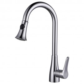 KES Brass Pull Down Kitchen Faucet Modern Single Large Tall Commercial Pullout Bar Sink Faucet with Swivel High Arc Gooseneck Pulldown Sprayer Head, L6910LF/-2/-4/-7