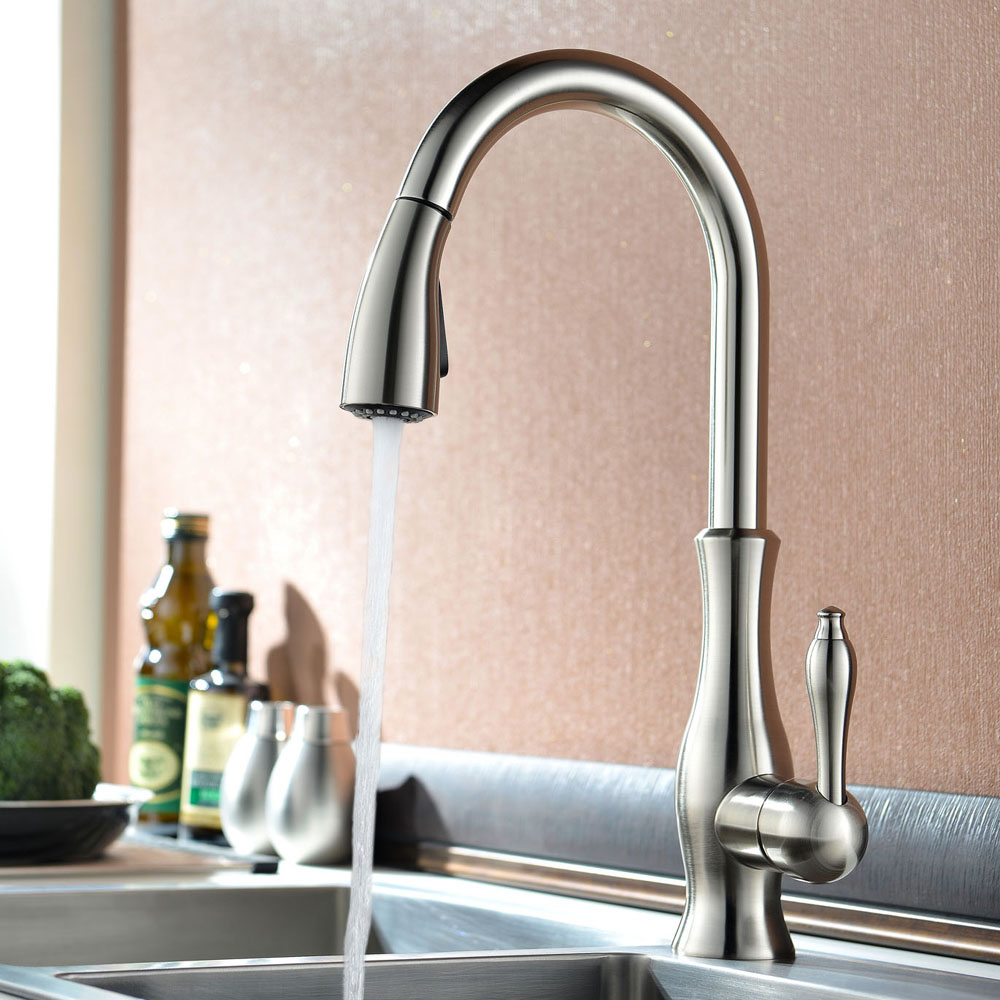 KES Kitchen Faucet Pull Down Spray Single Handle Traditional Style Single  Hole Bar Sink Water Mixer Tap ...