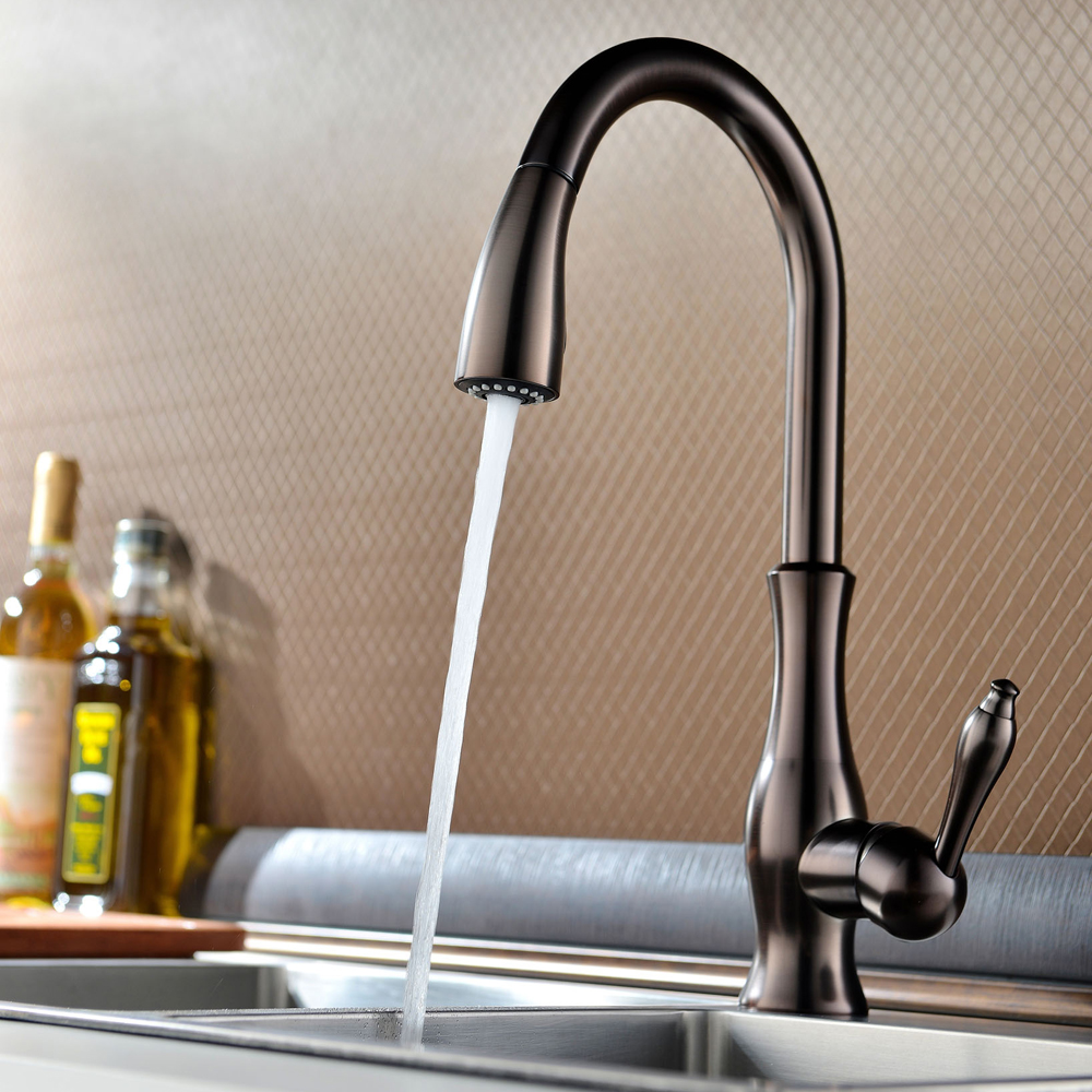Brass Singel Lever High Arc Pull Down Kitchen Faucet with ...