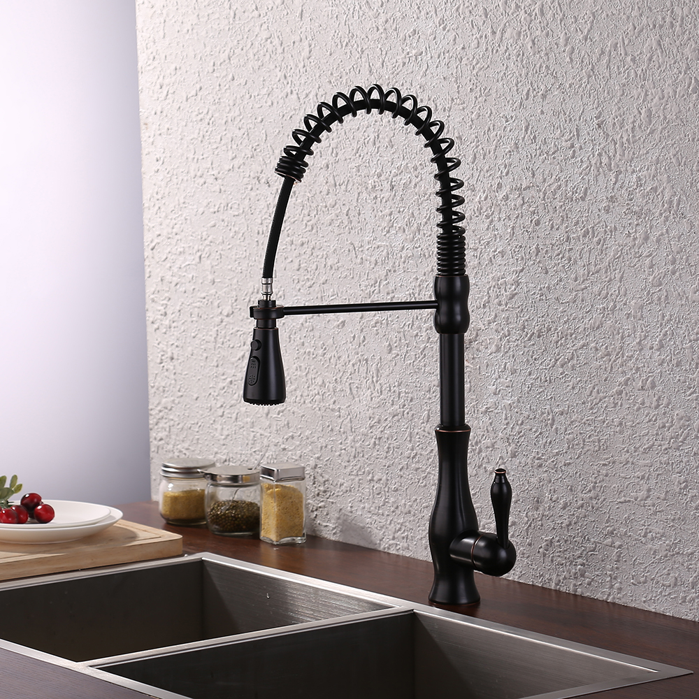 KES Brass Singel Lever High Arc Pull Down Kitchen Faucet with ...