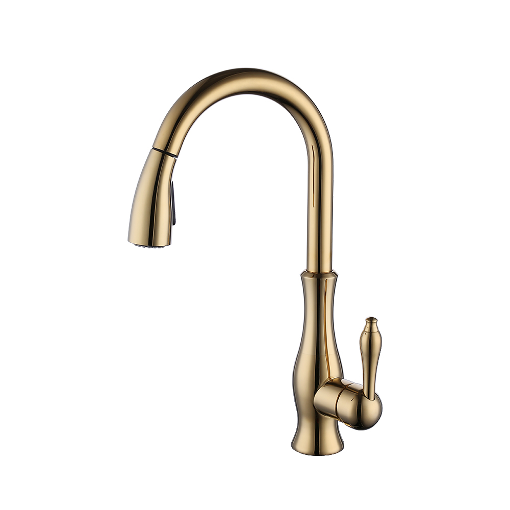 KES Brass Kitchen Faucet Pull Down Sprayer Tall Pullout Bar Sink ...