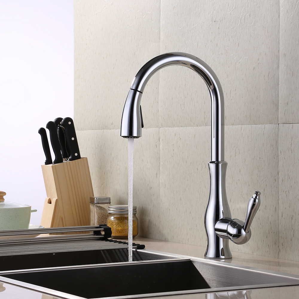 Kes Brass Kitchen Faucet Pull Down Sprayer Tall Pullout