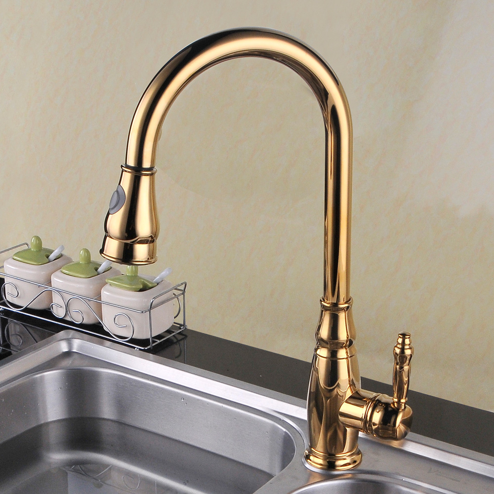 L6932 Single Handle High Arc Kitchen Sink Faucet with Pull-Out ...