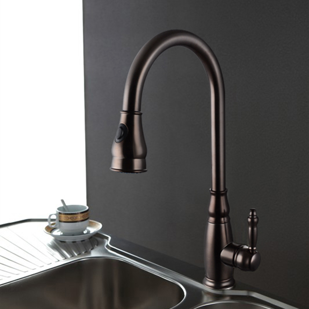 KES L6932 Single Handle High Arc Kitchen Sink Faucet with Pull-Out ...