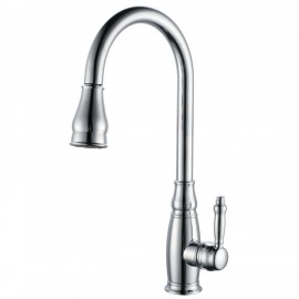 KES L6932 Single Handle High Arc Kitchen Sink Faucet with Pull-Out Sprayer and Swivel Spout, Chrome