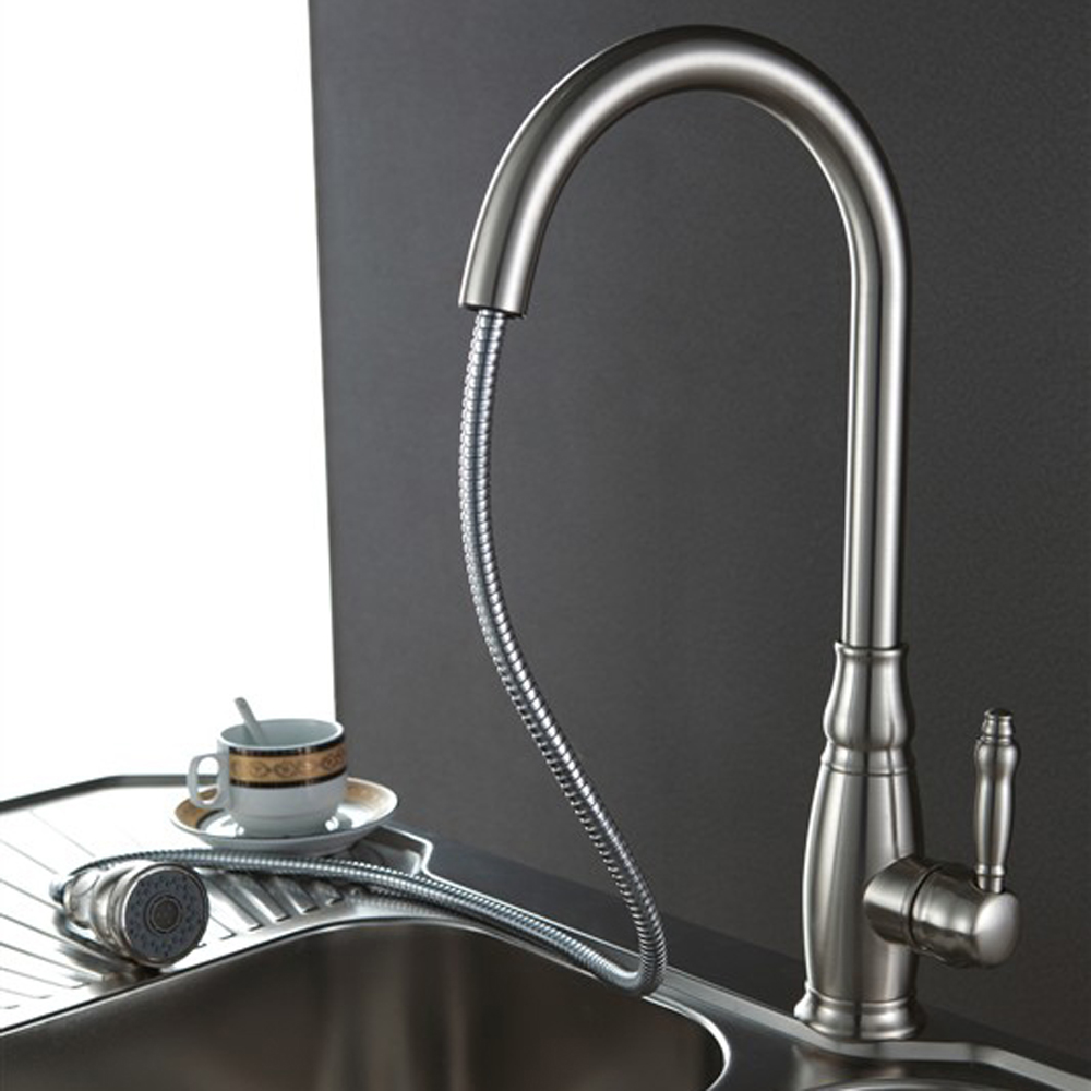 Kes Brass Tall Kitchen Faucet With Pull Down Sprayer Extra High