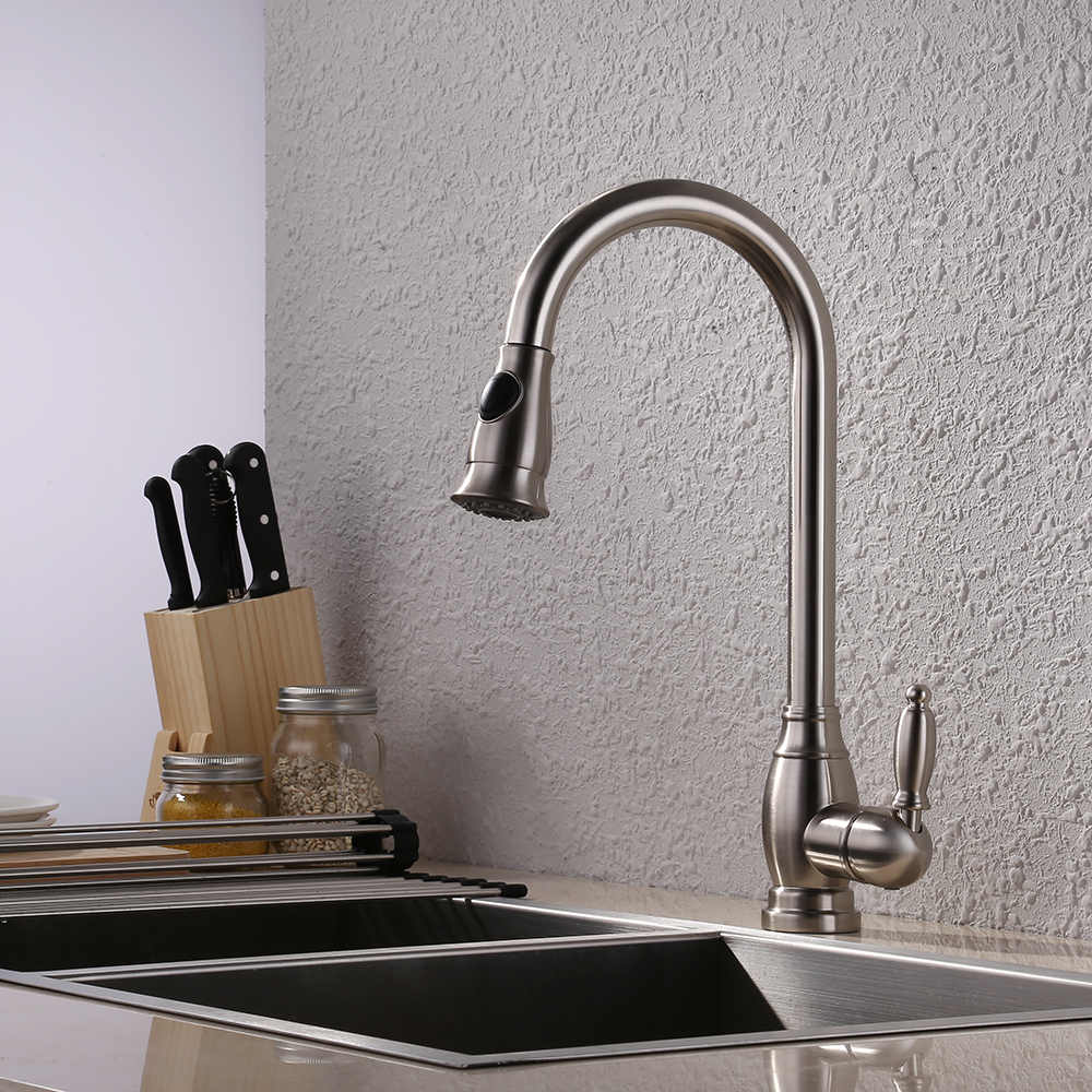 Brass Bar Sink Faucet with Pull Down Sprayer Head Modern Single Tall ...