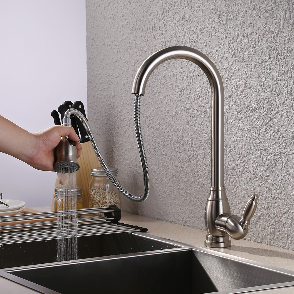 Kes Brass Bar Sink Faucet With Pull Down Sprayer Head Modern Single