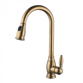 KES Brass Bar Sink Faucet with Pull Down Sprayer Head Modern Single Tall Large Commercial Pullout Kitchen Faucet Sprayer Pulldown High Arc Gooseneck, L6933LF-4