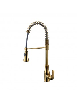 KES Pull Down Spring Faucet Kitchen Single Handle High Arc Kitchen Bar Sink Faucet Single Hole BRASS, L6936BLF-4