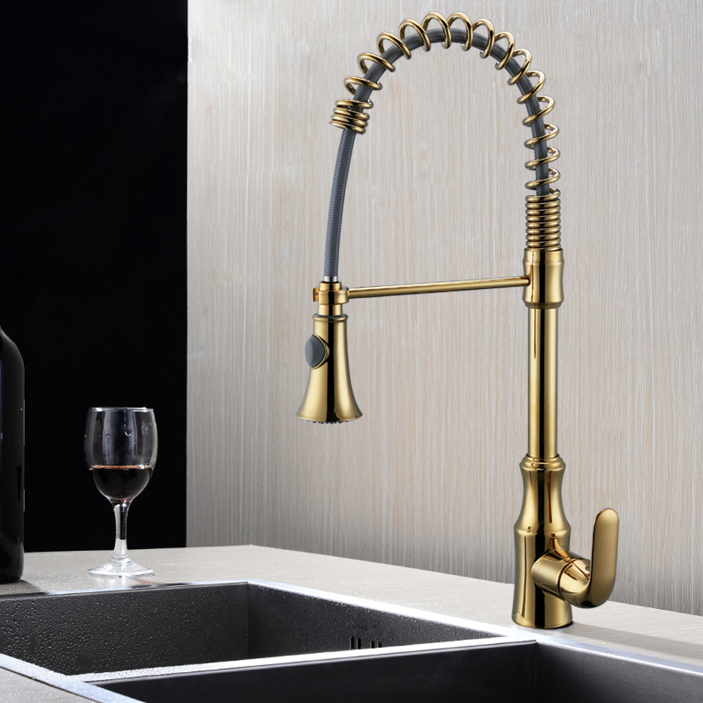 KES Pull Down Spring Faucet Kitchen Single Handle High Arc Kitchen ...