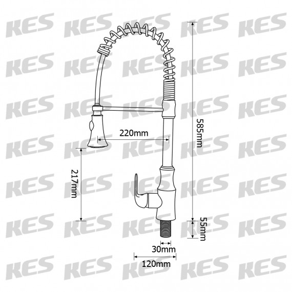 KES Pull Down Spring Faucet Kitchen Single Handle High Arc Kitchen Bar Sink Faucet Single Hole BRASS, L6936BLF-7