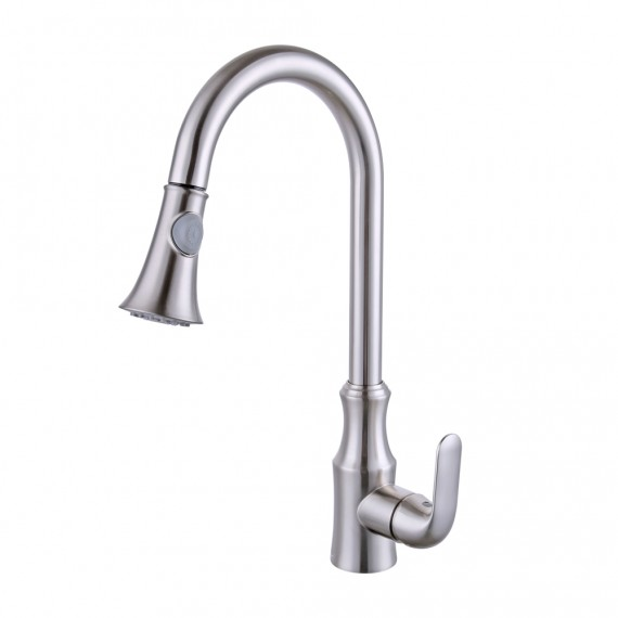 KES Brass Pull Down Kitchen Faucet Modern Single Large Tall Commercial Pullout Bar Sink Faucet with Swivel High Arc Gooseneck Pulldown Sprayer Head, L6936LF-2