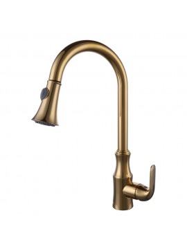 KES Brass Pull Down Kitchen Faucet Modern Single Large Tall Commercial Pullout Bar Sink Faucet with Swivel High Arc Gooseneck Pulldown Sprayer Head, L6936LF-4