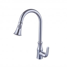 KES Brass Pull Down Kitchen Faucet Modern Single Large Tall Commercial Pullout Bar Sink Faucet with Swivel High Arc Gooseneck Pulldown Sprayer Head, L6936LF