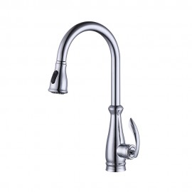 KES Brass Singel Lever High Arc Pull Down Kitchen Faucet with Retractable Pull Out Wand, Swivel Spout, L6937LF-CH