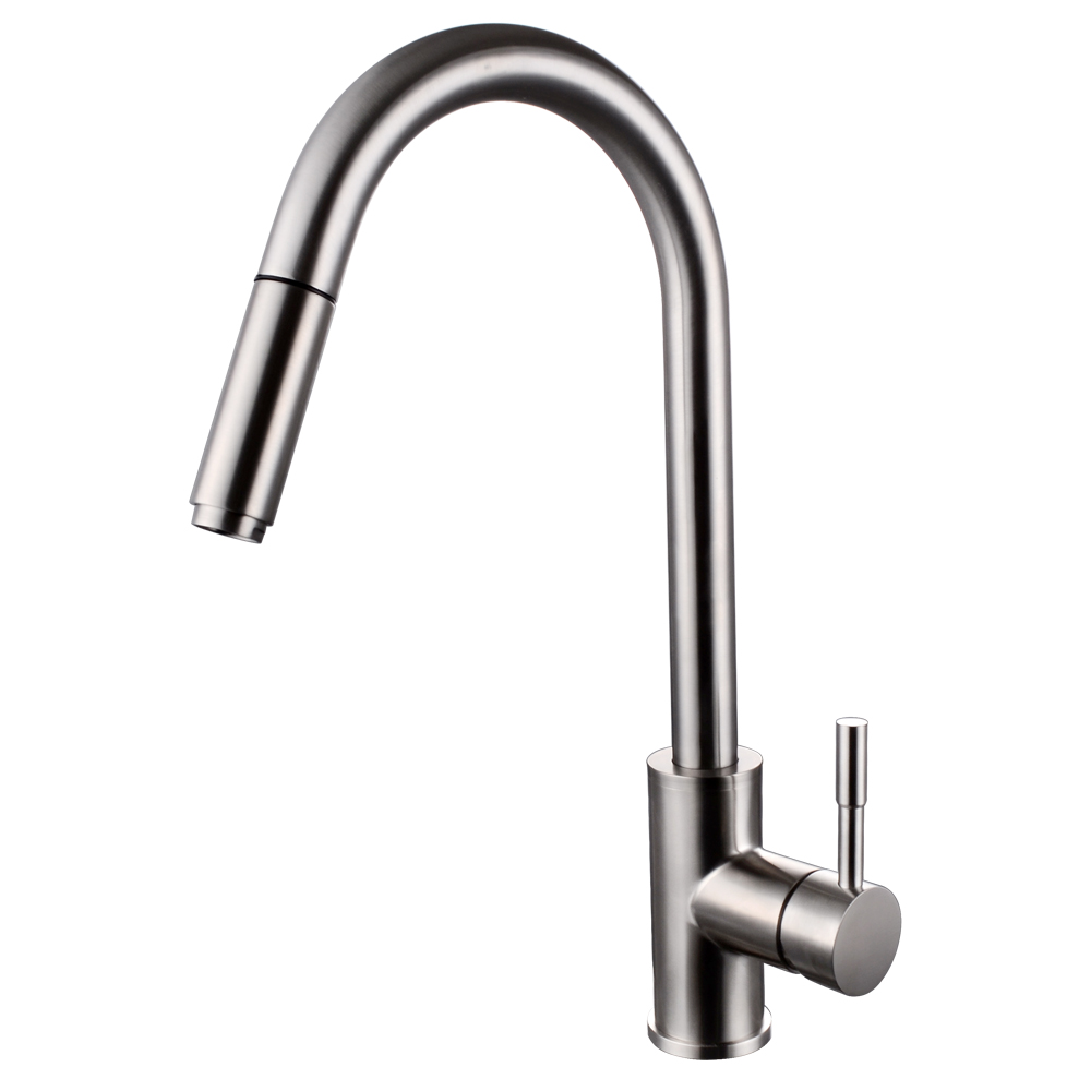 down fairbury steel american stainless pull single spray with sprayer faucet handle in kitchen p faucets standard