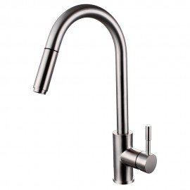 KES Lead-Free Kitchen Faucet Pull Out Spray Single Handle SUS 304 Stainless Steel Contemporary Style Single Hole Bar Sink Water Mixer Tap with Pull Down Sprayer Swivel High Arc Gooseneck Spout, Brushed Finish, L6954