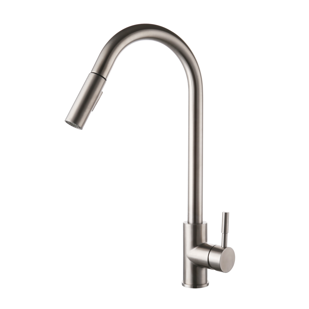 Pull Down Kitchen Faucet Stainless Steel Modern Single Large Tall ...