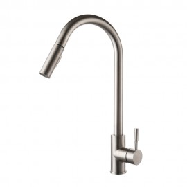 KES LEAD-FREE SUS 304 Stainless Steel Pull Down Kitchen Faucet Single Handle Contemporary Style Bar Sink Water Mixer Tap with Pull Out Sprayer Swivel High Arc Spout, Brushed Finish, L6957