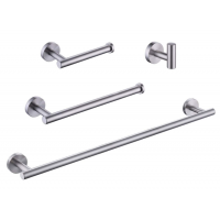 KES 4-Piece Bathroom Hardware Accessory Set, Towel Bar Robe Hook Toilet Paper Holder Towel Ring Wall Mount, Brushed Finish SUS 304 Stainless Steel, LA202DG-42