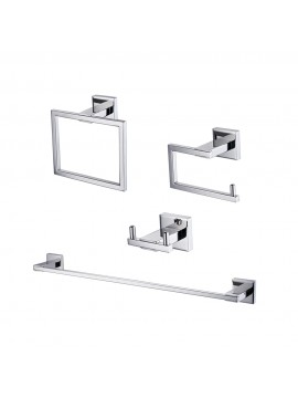 KES SUS 304 Stainless Steel 4-Piece Bathroom Accessory Set RUSTPROOF Including Towel Bar Toilet Paper Holder Towel Ring Double Robe Hook Wall Mount Contemporary Square Style, Polished Finish, LA240-42