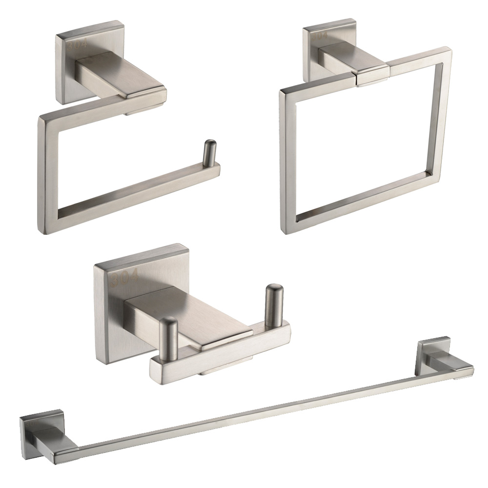 Kes Sus 304 Stainless Steel 4 Piece Bathroom Accessory Set Rustproof Including Towel Bar Toilet Paper Holder Ring Double Robe Hook Wall Mount