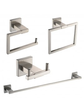 KES SUS 304 Stainless Steel 4-Piece Bathroom Accessory Set RUSTPROOF Including Towel Bar Toilet Paper Holder Towel Ring Double Robe Hook Wall Mount Contemporary Square Style, Brushed Finish, LA242-42