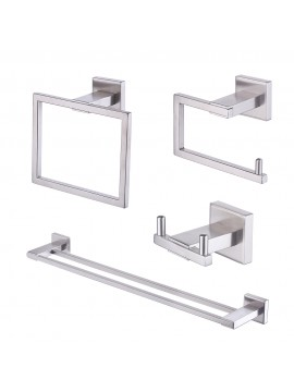 KES SUS 304 Stainless Steel 4-Piece Bathroom Accessory Set RUSTPROOF Including Towel Bar Toilet Paper Holder Towel Ring Double Robe Hook Wall Mount Contemporary Square Style, Brushed Finish, LA242-43