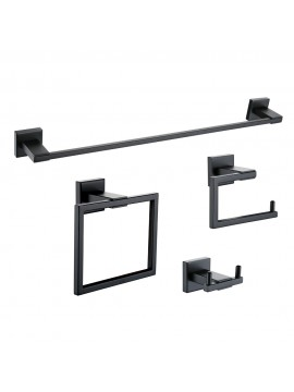 KES SUS 304 Stainless Steel 4-Piece Bathroom Accessory Set RUSTPROOF Including Towel Bar Toilet Paper Holder Towel Ring Double Robe Hook Wall Mount Contemporary Square Style, Matte Black Finish, LA24BK-42