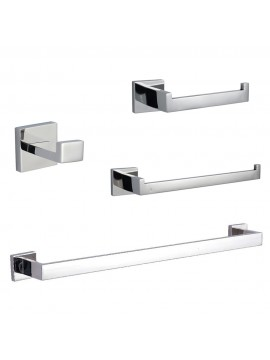 KES SUS304 Stainless Steel Bathroom Accessories Set Single Towel Bar Robe Hook Toilet Paper Holder Towel Ring Wall Mount, Polished Finish, LA250-42