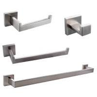 KES 4-Piece Bathroom Hardware Accessory Set, Towel Bar Robe Hook Toilet Paper Holder Towel Ring Wall Mount, Brushed Finish SUS 304 Stainless Steel, LA252-42