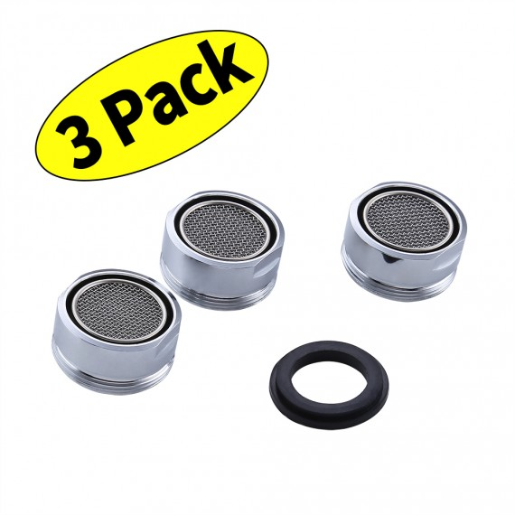 KES PA1B-P3 Faucet Replacement Part 24mm Male Threaded Brass Aerator with Gasket 3 PCS PACK, Polished Chrome