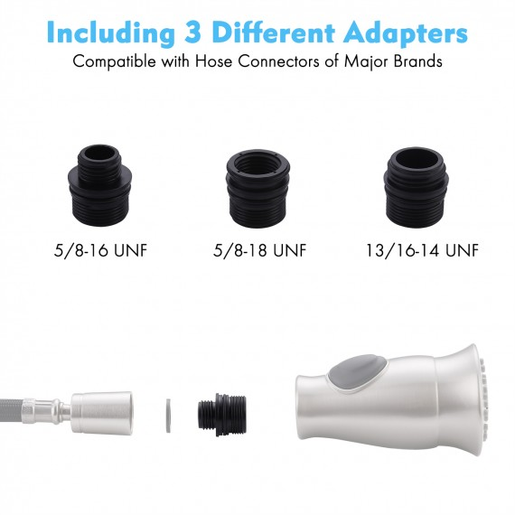 Kitchen Sink Faucet Sprayer Pull Down & Pull Out with 3 adapters Head Replacement, Brushed Nickel PFS5M-BN
