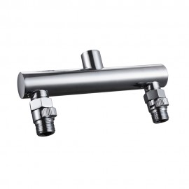 KES PJ15+K1140B ALL BRASS Shower Head Double Outlet Manifold with Shut Off Valves for Dual Sprayer Showering System, Polished Chrome