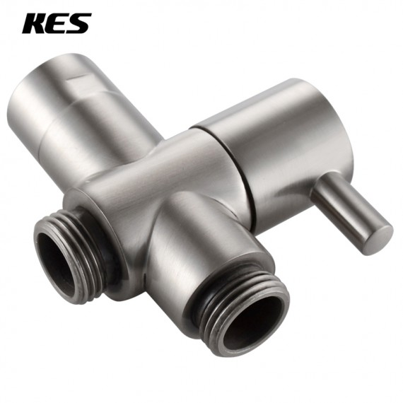 KES Bathroom Modern BRASS Shower Arm Diverter Quarter Turn Hand Held Showerhead Flow Control Valve Handheld Spray Head Diverter Brushed Nickel, PV4-2