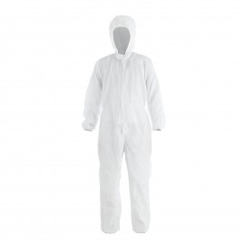 Kes Cleaning Suits Disposable Isolation Gown with Elastic Cuff Splash Resistant with Hood, White, QJF500