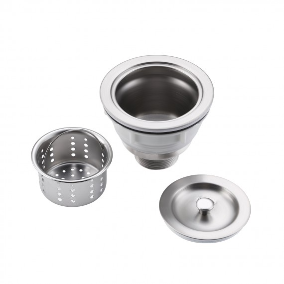 Kitchen Sink Drain Strainer 3-1/2-Inch Sink Drain Assembly Stopper with Basket Cover Lid Rustfree SUS 304 Stainless Steel, S3001
