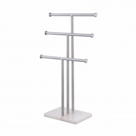 Jewelry Stand 3 Tier Necklace Holder with Natural Marble Base T-Shape Bracelet Holder Jewerly Holder Organizer SUS304 Stainless Steel Brushed Finish, SJT200-2