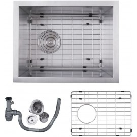 KES SUS 304 Stainless Steel HANDMADE Kitchen Sink Single Bowl Undermount Deep 16 Gauge Zero Radius with Drain Stainer Basket and Bottom Grid Protector 14 x 18 x 8 Inch European Contemporary Style, UB3646-C1