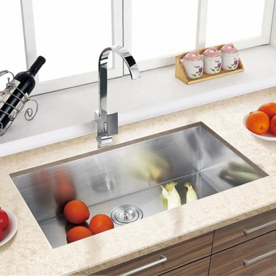 KES 30-Inch HANDMADE Kitchen Sink Stainless Steel Single Bowl Undermount Deep 16 Gauge Zero Radius with Drain Stainer Basket and Bottom Grid Protector 30 x 18 x 10 Inch European Contemporary Style, UB7646-C1