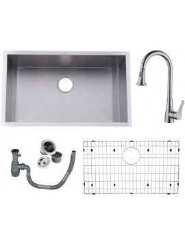 KES 30-Inch Undermount HANDMADE Kitchen Sink Stainless Steel with Brushed Nickel Pull Down Faucet 16 Gauge Zero Radius Drain Stainer Basket and Bottom Grid Protector 30 x 18 x 10 Inch, UB7646-C2