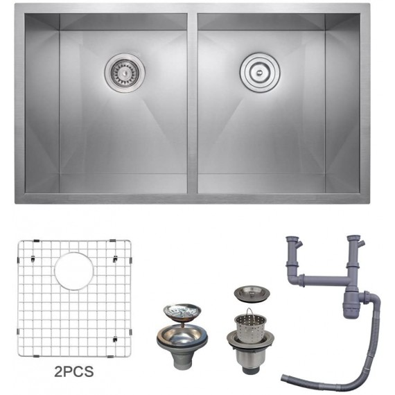 KES 32-Inch HANDMADE Kitchen Sink Stainless Steel Double Bowl Undermount Deep 16 Gauge Zero Radius with Drain Stainer Basket and Bottom Grid Protector 32 x 19 x 10 Inch European Contemporary Style, UB8148-C1