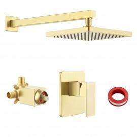 Bathroom Shower System with Rain Shower Head, Brushed Brass XB6210-BZ