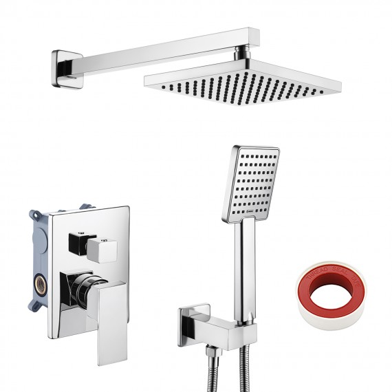 KES Shower System Bathroom Single Handle Shower Faucet Trim Valve Body Hand Shower Complete Kit Pressure Balance Modern Square, Polished Chrome/ Brushed Nickel, XB6223