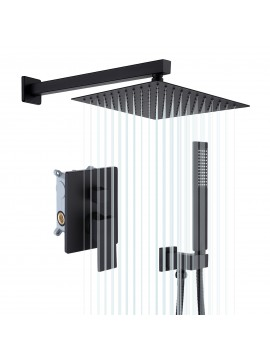 Bathroom Shower System with 10 Inches Rain Shower Head & Handheld Shower, Matte Black XB6230-BK